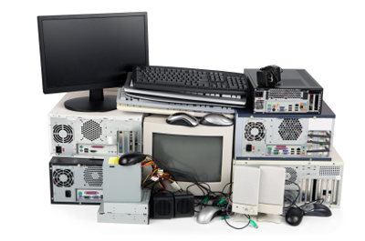 Obsolete computer equipment for recycling, isolated on white.