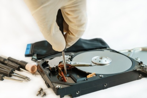 screw hard disk drive to repair for recovery information data storage